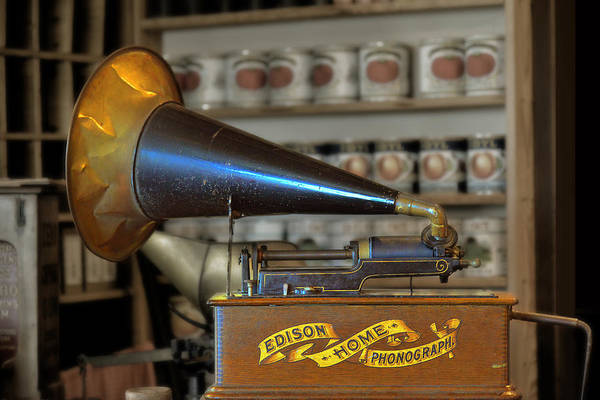 Antique Print featuring the photograph Edison Home Phonograph With Morning Glory Horn by Christine Till
