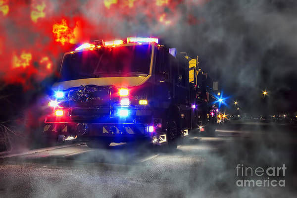 Fire Print featuring the photograph Emergency by Olivier Le Queinec