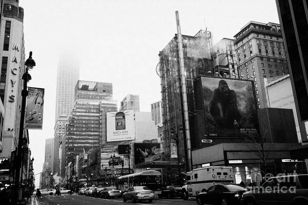 Usa Print featuring the photograph empire state building shrouded in mist from west 34th Street and 7th Avenue King Kong movie poster by Joe Fox