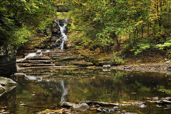 Waterfall Print featuring the photograph Fall Waterfall Creek Reflection by Christina Rollo
