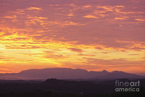 Smoky Mountains Print featuring the photograph Fire Sunset Over Smoky Mountains by Kay Pickens