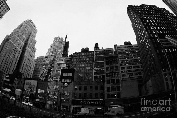 Usa Print featuring the photograph Fisheye View Of 34th Street From 1 Penn Plaza New York City Usa by Joe Fox