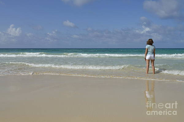 People Print featuring the photograph Girl Contemplating Ocean From Beach by Sami Sarkis