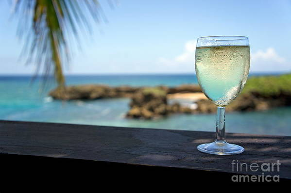 Freshness Print featuring the photograph Glass Of Fresh Wine By Tropical Beach by Sami Sarkis