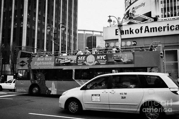 Usa Print featuring the photograph Gray Line New York Sightseeing Bus And Yellow Mpv Taxi Cab On 7th Avenue New York City by Joe Fox