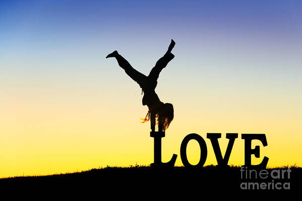 Silhouette Print featuring the photograph Head Over Heels In Love by Tim Gainey