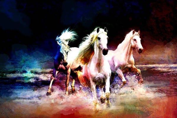 Horse Print featuring the painting Horse Paintings 002 by Catf