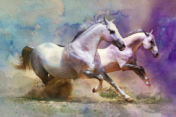 Horse Print featuring the painting Horse Paintings 004 by Catf