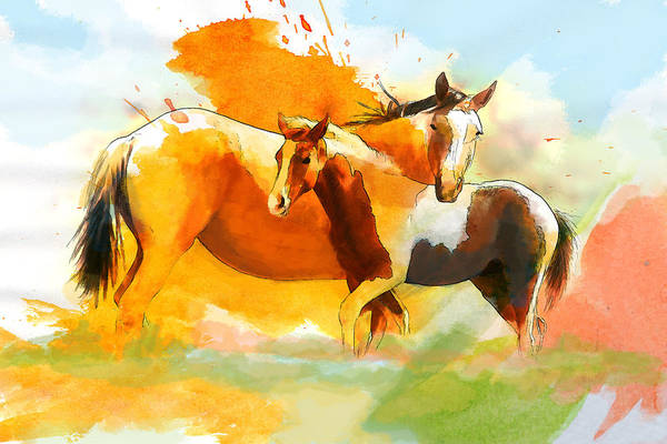 Horse Print featuring the painting Horse Paintings 013 by Catf