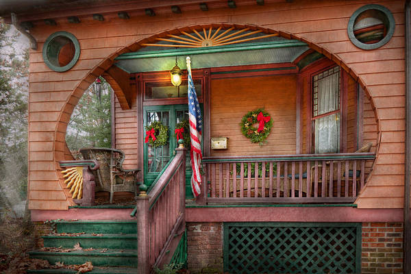 Victorian Print featuring the photograph House - Porch - Metuchen Nj - That Yule Tide Spirit by Mike Savad