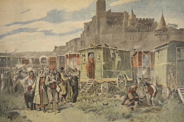 Gypsy Camp Print featuring the drawing Hungarian Gypsies Outside Carcassonne by French School