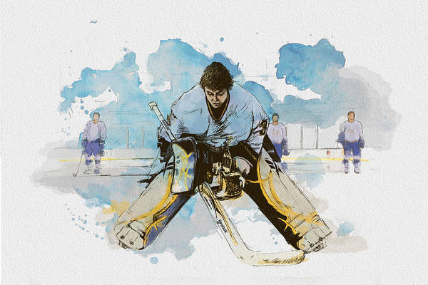 Sports Print featuring the painting Ice Hockey by Corporate Art Task Force