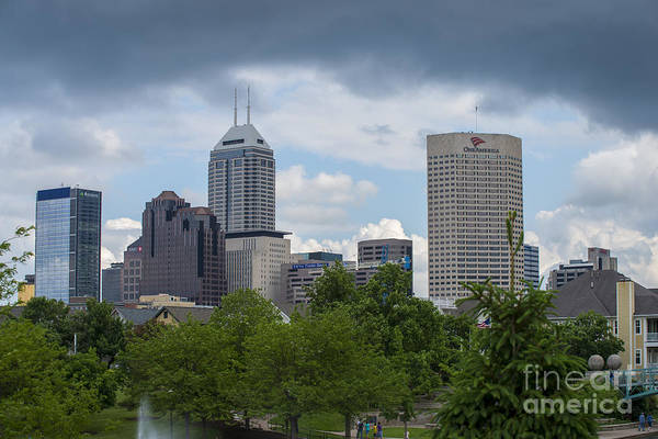 Indy 500 Print featuring the photograph Indianapolis Skyline Storm 3 by David Haskett