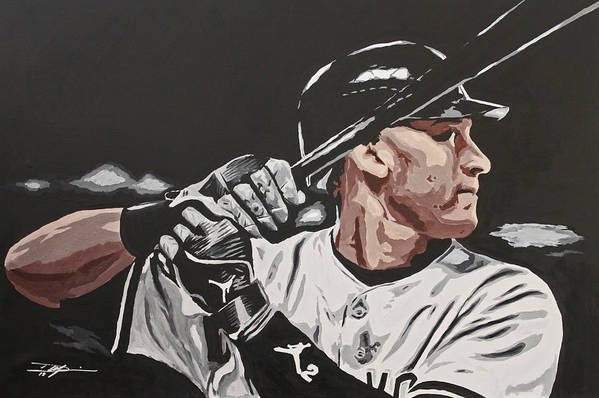 Jeter Print featuring the drawing Jeter by Don Medina