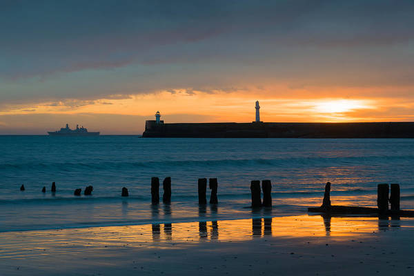 Aberdeen Harbour Print featuring the photograph Leaving Port by Dave Bowman