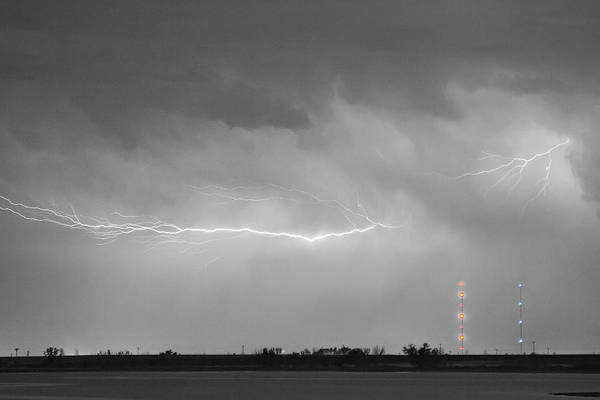 Lightning Print featuring the photograph Lightning Bolting Across The Sky Bwsc by James BO Insogna