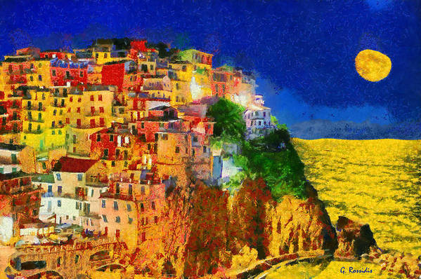 Rossidis Print featuring the painting Manarola By Night by George Rossidis