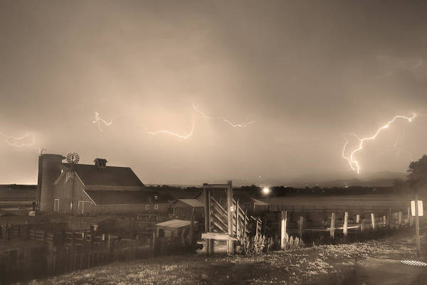 Lightning Print featuring the photograph Mcintosh Farm Lightning Thunderstorm View Sepia by James BO Insogna