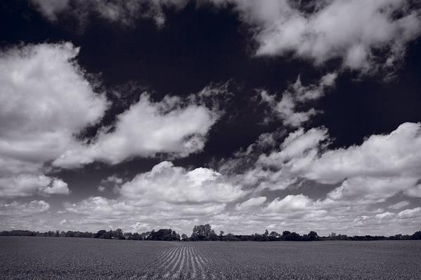 Cloud Print featuring the photograph Midwest Corn Field Bw by Steve Gadomski