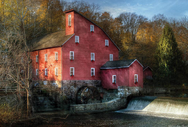 Savad Print featuring the photograph Mill - Clinton Nj - The Old Mill by Mike Savad