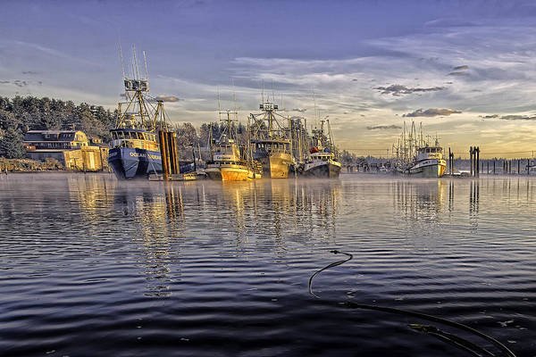 Fishing Boats At Dock Print featuring the photograph Misty Morning At The Docks by Evan Spellman