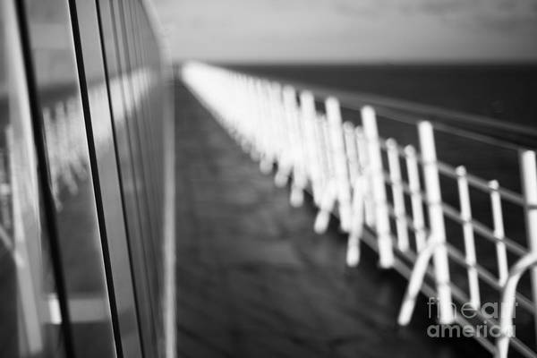 Abstract Print featuring the photograph Monochrome Sun Deck by Anne Gilbert