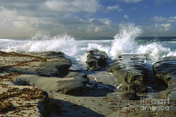 California Print featuring the photograph Morning Tide In La Jolla by Sandra Bronstein