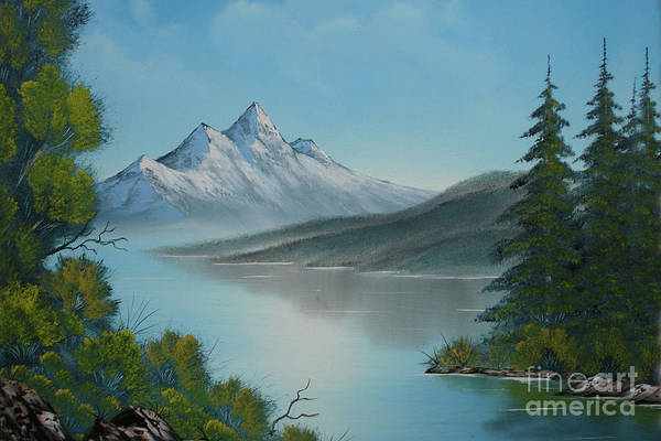 Mountain Lake Print featuring the painting Mountain Lake Painting A La Bob Ross by Bruno Santoro