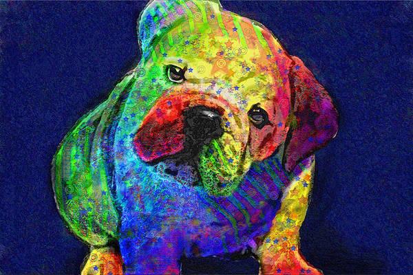 Jane Schnetlage Print featuring the digital art My Psychedelic Bulldog by Jane Schnetlage
