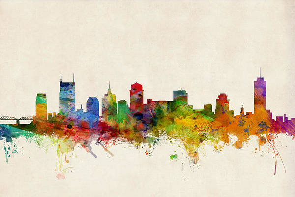 Watercolour Print featuring the digital art Nashville Tennessee Skyline by Michael Tompsett