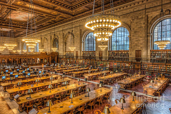 Clarence Holmes Print featuring the photograph New York Public Library Main Reading Room Ix by Clarence Holmes