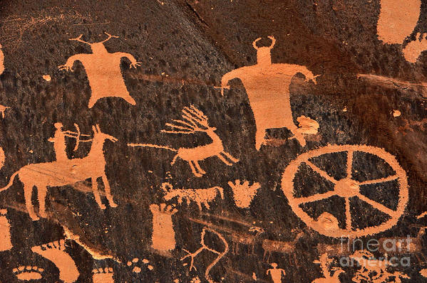 Petroglyphs Print featuring the photograph Newspaper Rock Close-up by Gary Whitton