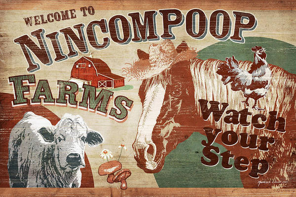 Joe Low Print featuring the painting Nincompoop Farms by JQ Licensing