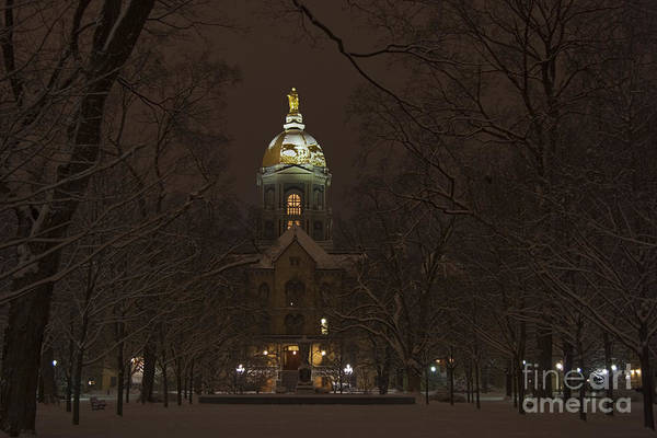 Notre Dame Print featuring the photograph Notre Dame Golden Dome Snow by John Stephens