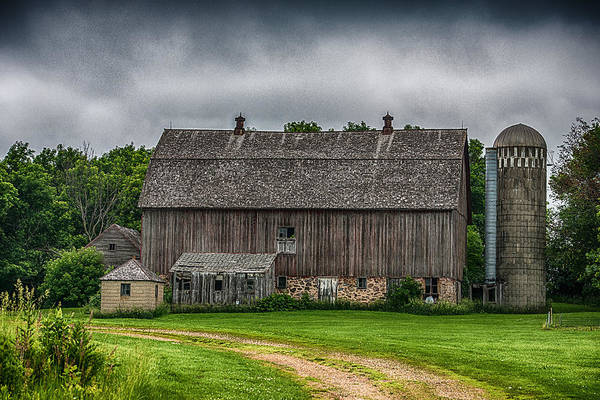 Barn Print featuring the photograph Old Barn On A Stormy Day by Paul Freidlund