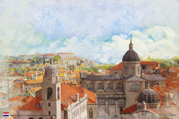 Museum Print featuring the painting Old City Of Dubrovnik by Catf