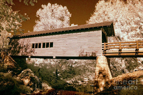 Country Print featuring the photograph Old Time Covered Bridge by Paul W Faust - Impressions of Light