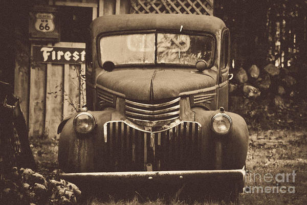Parked Truck Print featuring the photograph Old Times by Alana Ranney