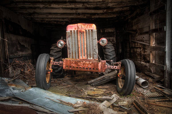 Tractor Print featuring the photograph Old Tractor Face by Gary Heller