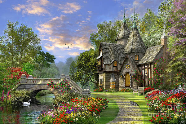 Gothic House Print featuring the digital art Old Waterway Cottage by Dominic Davison