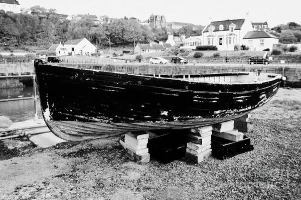 Portpatrick Print featuring the photograph Old Wooden Fishing Boat In Portpatrick Harbour Scotland Uk by Joe Fox