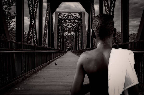Bird Watching Print featuring the photograph One Boy One Pigeon One Bridge by Bob Orsillo