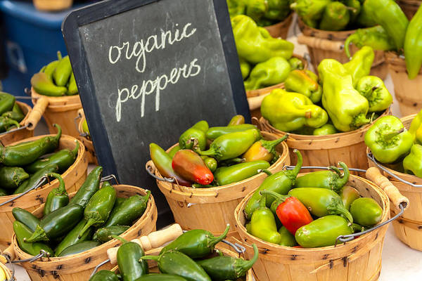 Baskets Print featuring the photograph Organic Peppers At Farmers Market by Teri Virbickis