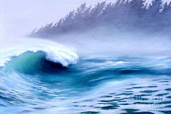 Ocean Waves Print featuring the painting Pacific Power by Michael Swanson