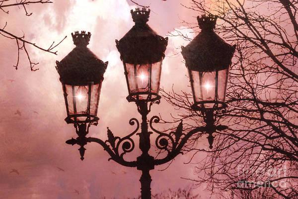 Dreamy Paris Pink Street Lamps Print featuring the photograph Paris Street Lanterns - Paris Romantic Dreamy Surreal Pink Paris Street Lamps by Kathy Fornal