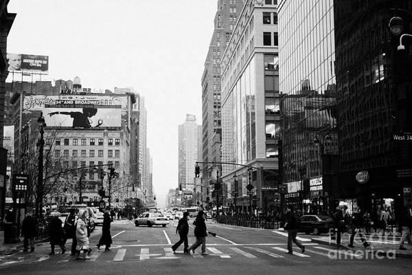 Usa Print featuring the photograph Pedestrians Crossing Crosswalk On West 34th Street And Sixth 6th Avenue At Herald Square New York by Joe Fox