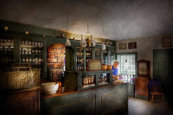 Doctor Print featuring the photograph Pharmacy - Morning Preparations by Mike Savad