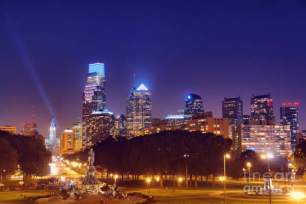 Philadelphia Print featuring the photograph Philadelphia Nightscape by Olivier Le Queinec