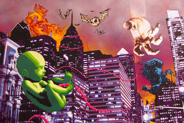 Philly Print featuring the painting Philly Rapture by Bobby Zeik