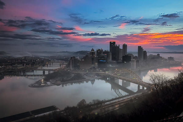 Pittsburgh Print featuring the photograph Pittsburgh January Thaw by Jennifer Grover